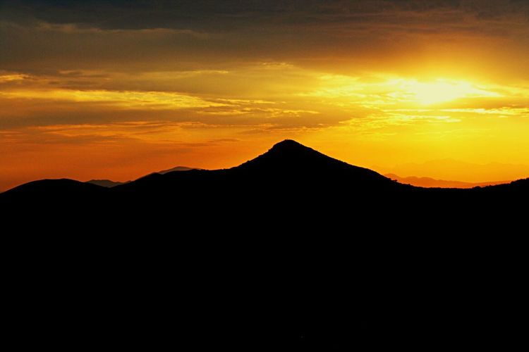 Sleeping mountains Canon Canonphotography Sunset Sky Silhouette Mountain Beauty In Nature Scenics - Nature Tranquil Scene Orange Color Tranquility Cloud - Sky Mountain Range Nature Landscape Environment Idyllic Non-urban Scene No People Copy Space Travel Travel Destinations HUAWEI Photo Award: After Dark