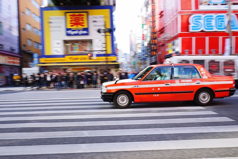 Car crossing street