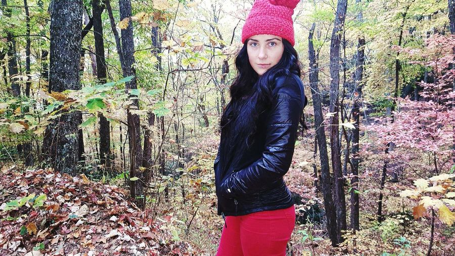 Autumn Leaves Fall My Favorite Season Red Hat Red Pants ✌ That Fresh Air 🌲 Hanging Out That's Me