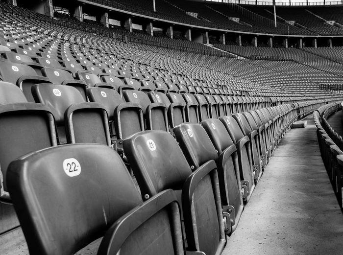 Empty bleachers in stadium