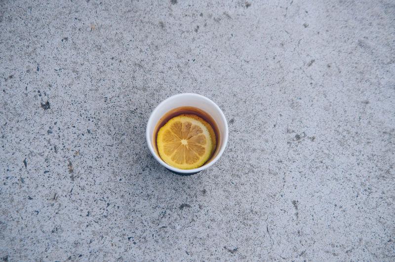 Directly above shot of lemon tea