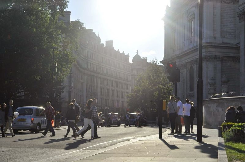 London Street Built Structure Building Exterior City Tree Real People Architecture Walking City Street Travel Destinations Adults Only Outdoors People Large Group Of People Day Adult Road Men Sky