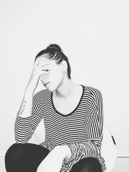 thirty-seven. B & W By Yeli Self Portrait Black And White Minimalism One Person Front View Sitting Young Adult Lifestyles Real People Eyes Closed  Striped Leisure Activity Indoors  Young Women Copy Space Portrait Women Contemplation