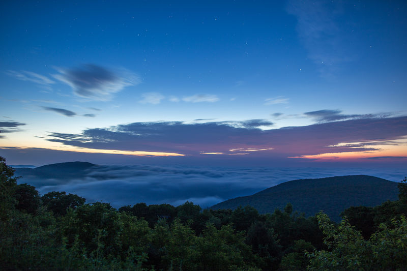 Dawn over the Shenandoah Valley Beauty In Nature Cloud Cloud - Sky Dawn Fog Horizon Over Land Landscape Majestic Morning Mountain Range National Park Nature No People Non Urban Scene Non-urban Scene Outdoors Scenics Shenandoah National Park Sky Stars Sunrise Tranquil Scene Tranquility Tree