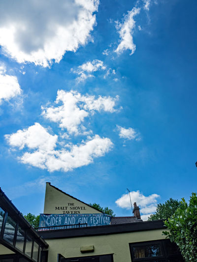 The Malt Shovel Architecture Blue Blue Sky Thinking Building Exterior Built Structure Cloud - Sky Communication Day Low Angle View No People Outdoors Sky Text