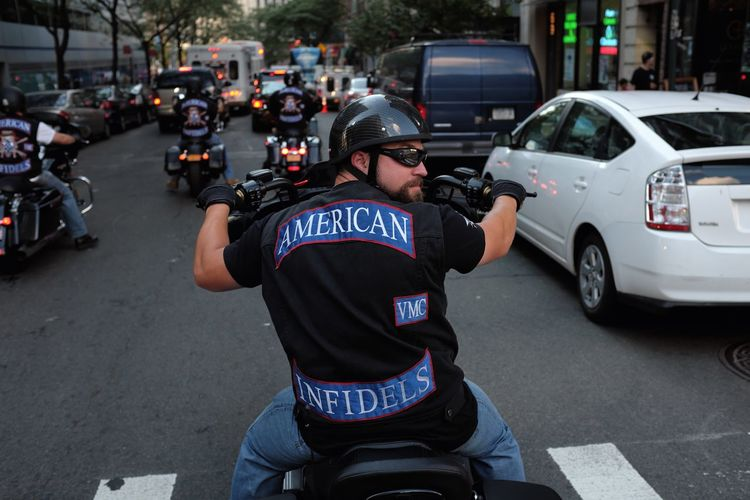 Downtown New York, 9/11 2015, a biker club parades. Biker, Bikers, Motorcycle Club, 9/11 New York,