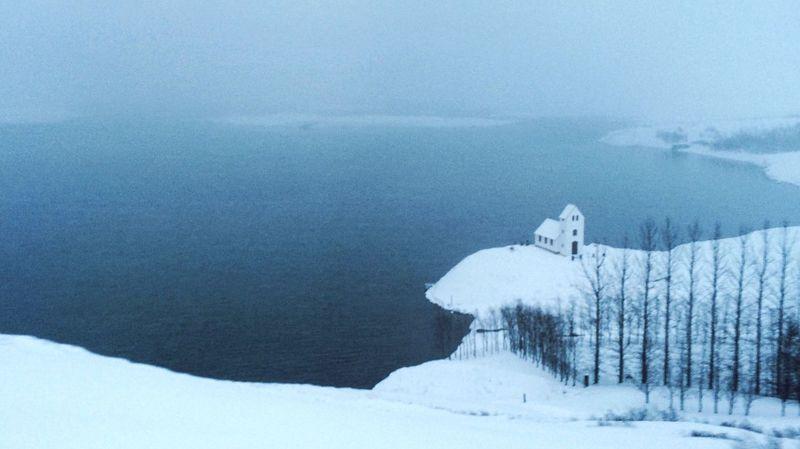Snow Winter Iceland Church Lake Ice Landscape