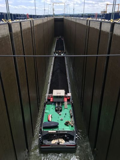 High angle view of boat in canal