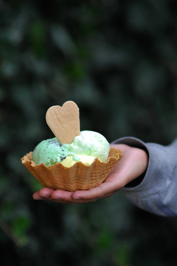 Person holding mint fresh ice cream and waffle Candy Close-up Cream Food Fresh Freshness Hand Heart Holding Ice Cream Mint Ready-to-eat Sweet Sweets Waffle