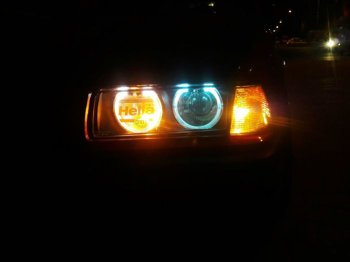 Hellal E36 E36porn E36sedan Bmw #e36mafia #e36porn Coilover #hellrot #lowslow #hella #babamrb Coilower #photography #gangstacar #bloods Headlight #headlightofcars #far Yellow Black Background Illuminated City Lighting Equipment Close-up Sky