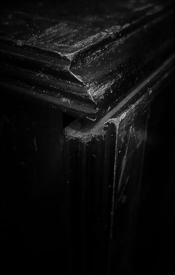 Worn out table Black And White Close-up Dark Photograph Eye Level Indoors  No People Old Furniture Scratches