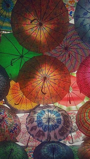 Multi Colored Full Frame Close-up Umbrella Shelter Thatched Roof Parasol Decorative Art Under