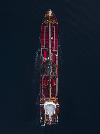 Aerial view of an oil tanker