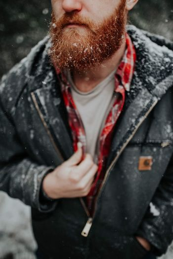 Flakes of snow on a beard so low. Beard Red White Snow One Person Front View Real People Young Men Young Adult Leisure Activity Outdoors Standing Close-up Men Day One Man Only Adult People Adults Only