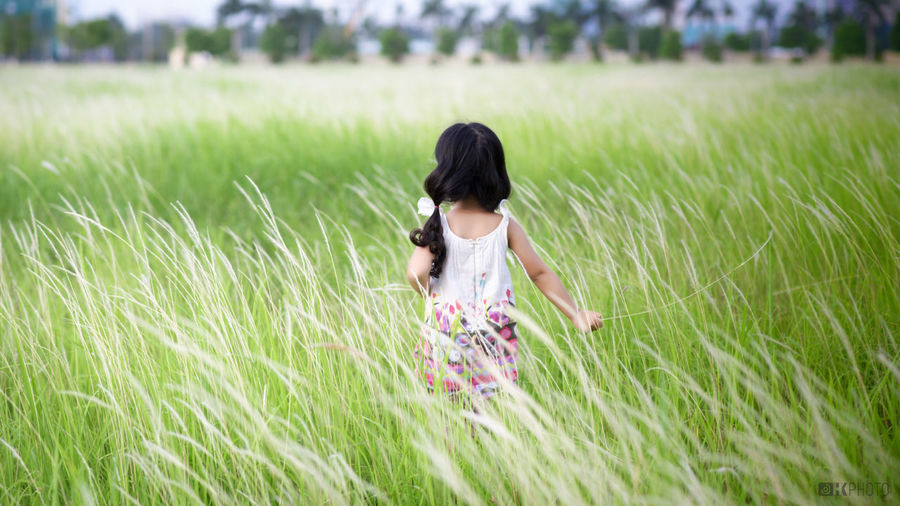 Rear view of girl standing on grass