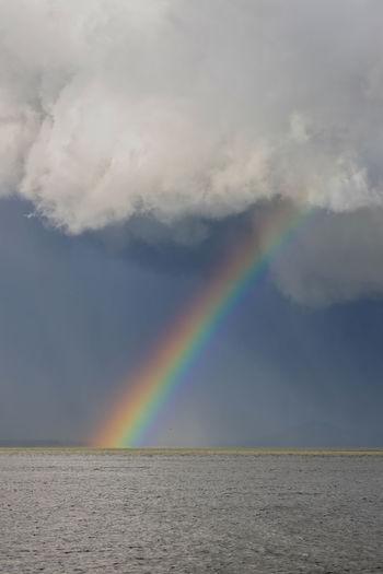 Rainbow over sea against sky