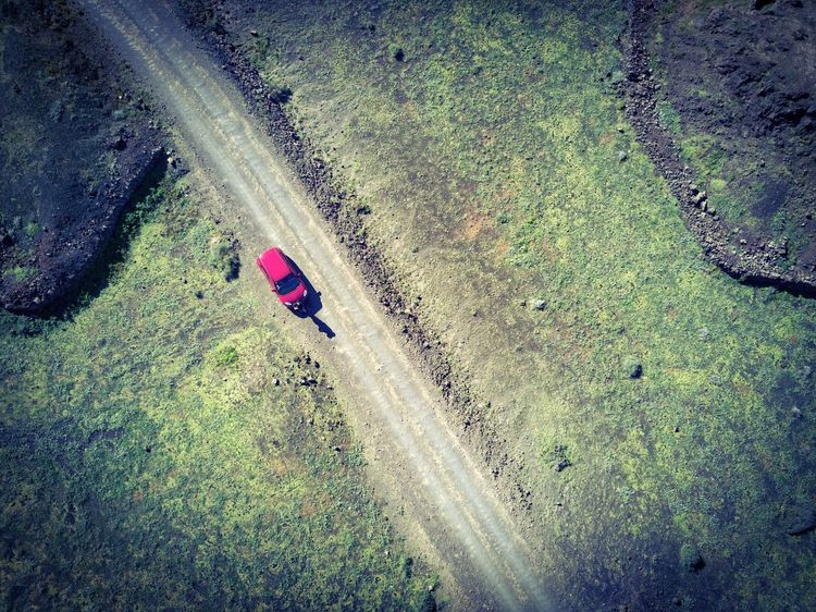 High Angle View Transportation Day Outdoors Nature Road Real People The Way Forward Land Vehicle Grass DJI Mavic Pro Dji Canary Islands Volcanic Landscape A Bird's Eye View Finding New Frontiers Aerial View Travel Destinations Aerial Photography