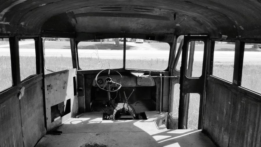 Inside view of abandoned school bus