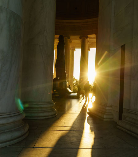 Low angle view of statue in lincoln memorial during sunrise