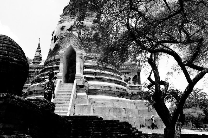 Low key Architecture Built Structure History Religion Sky The Past Place Of Worship Nature Travel Travel Destinations Outdoors Ayutthaya Thailand Tree Building Exterior Belief Building Plant Ancient Spirituality Low Angle View No People Ancient Civilization Archaeology Ruined