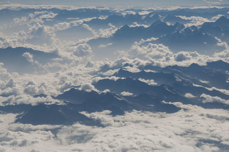Aerial view of cloudscape from airplane