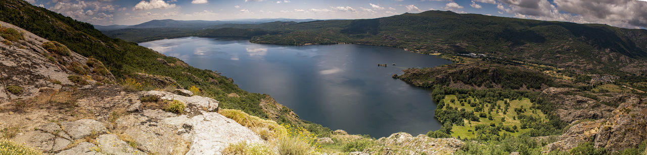 Water Lago De Sanabria SANABRIA LAK Mountain Range No People Nature Beauty In Nature Scenics - Nature Tranquil Scene Tranquility Lake Day Cloud - Sky Outdoors Travel Destinations Panoramic Reflections In The Water Hiking View From Above View REWILDING EUR Rewilding