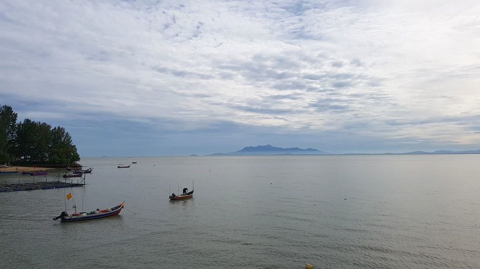 Morning view in Tanjung Bungah, Penang, Malaysia. Nautical Vessel Water Transportation Outdoors Landscape Sea Sky Beach Day Tranquility Floating On Water Nature Occupation Beauty In Nature