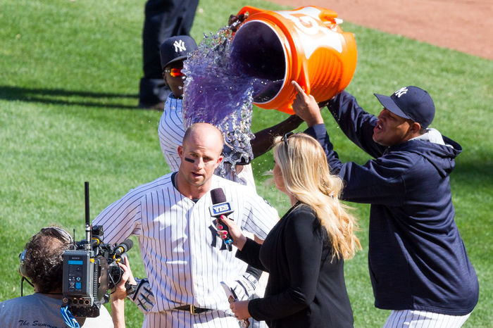 Yankees Brett Gardner Walkoff Gatorade Celebration Win Yankeestadium First Eyeem Photo