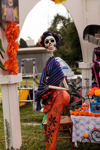 Flower and skeleton alter at Dia de los Muertos, Day of the dead, in Los Angeles at the Hollywood Forever Cemetery grounds. Editorial use only. All Saints Day Alter Celebration Day Of The Dead Decor Decoration Dia De Los Muertos Flower Halloween Skeleton Skull