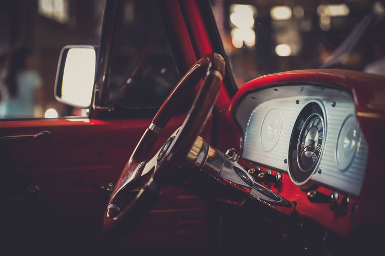 Antique Car Close-up Day Focus On Foreground Headlight Land Vehicle Mode Of Transport No People Old-fashioned Outdoors Red Retro Styled Transportation Vintage Car