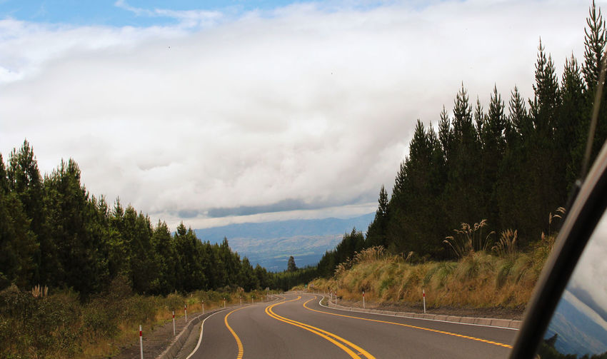 Asphalt Beauty In Nature Cloud - Sky Day Dividing Line Empty Road Landscape Mountain Mountain Road Nature No People Outdoors Passing Road Road Marking Sky The Way Forward Tranquility Transportation Tree Vintage Volcano Winding Road