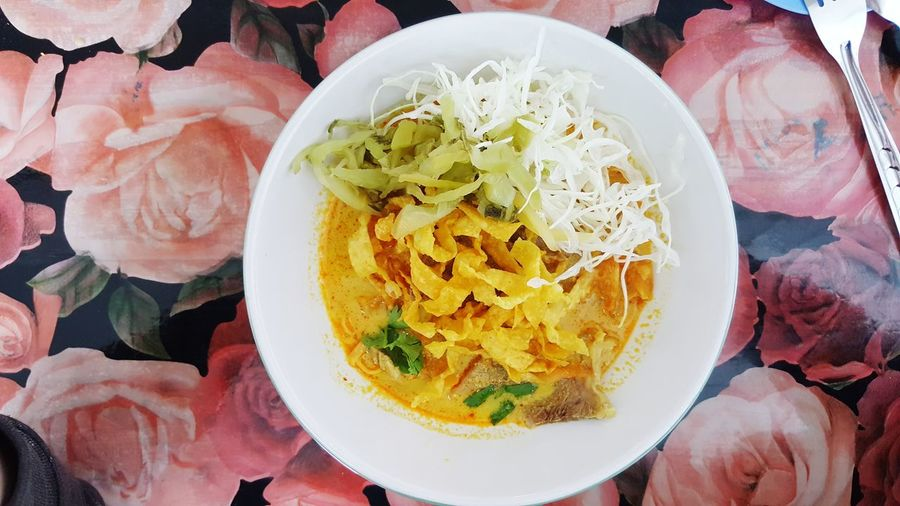 Egg Noodle in beef curry Curry Soup Vegetable Northern Thailand Egg Yolk Plate Directly Above Table High Angle View Close-up Food And Drink Curry Cooked Dish Main Course Rice - Food Staple