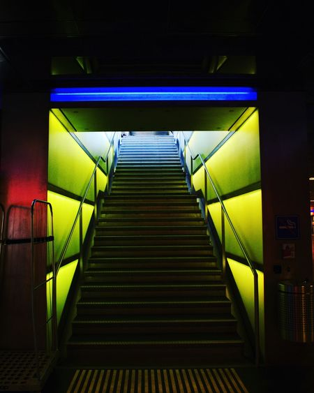 Exit Colorful Architectural Feature Architecture Week On Eyeem EyeEm Selects Underground Streetphotography Minimalism Walking Around Urbanphotography Illuminated Steps And Staircases Steps Staircase Railing Architecture Built Structure Neon Fluorescent Light Subway The Way Forward Subway Station Subway Train Empty Road Neon Colored Fluorescent Capture Tomorrow