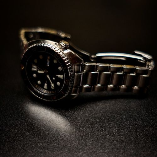 Seiko Prospex Srp775k1 Diver Dive Watch Clock Face Black Background Time Wristwatch Clock Watch Luxury Studio Shot Minute Hand Jewelry