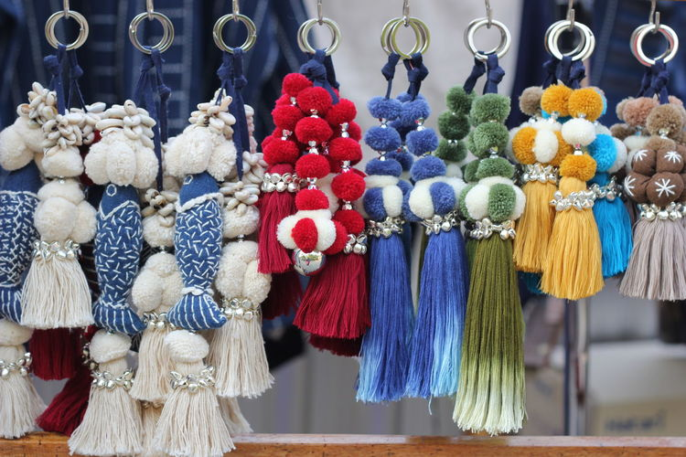 Close-up of clothes hanging for sale at market stall