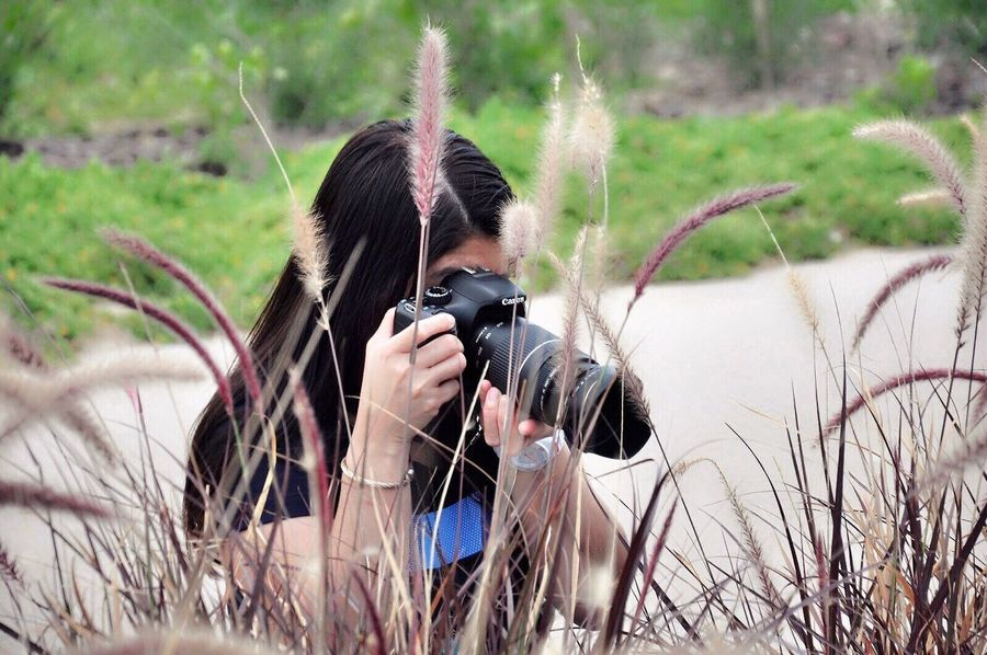 Adult Holding One Person Camera - Photographic Equipment Photographer Nature Outdoors Women Headshot People