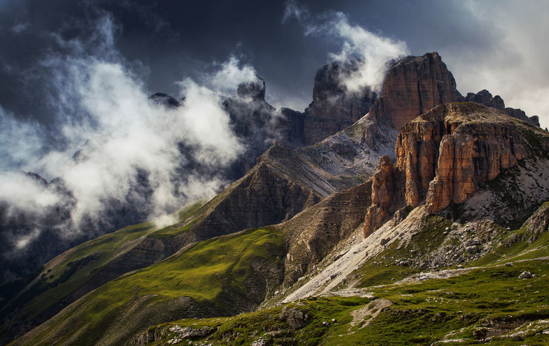 Landscapes from Dolomite Mountains, Italian Alps. Alpine Alps Beauty In Nature Cloud - Sky Day Dolomites Europe Italy Landscape Light Mountain Mountain Range Nature No People Outdoors Photography Physical Geography Rock - Object Rocky Scenics Sky Tranquility Travel Destinations View