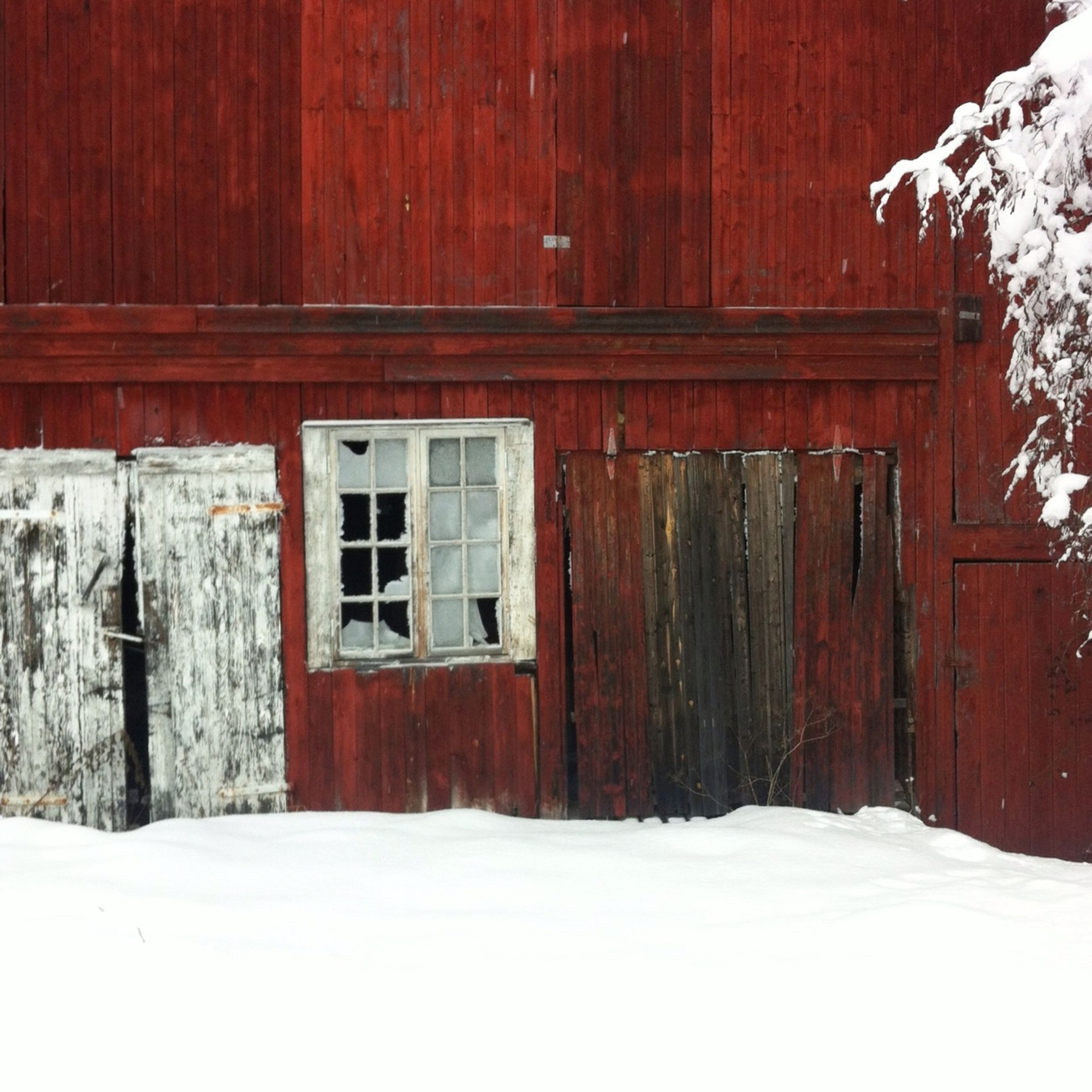 snow, built structure, winter, architecture, house, building exterior, cold temperature, window, wood - material, door, covering, white color, residential structure, season, no people, day, outdoors, wooden, nature, sunlight
