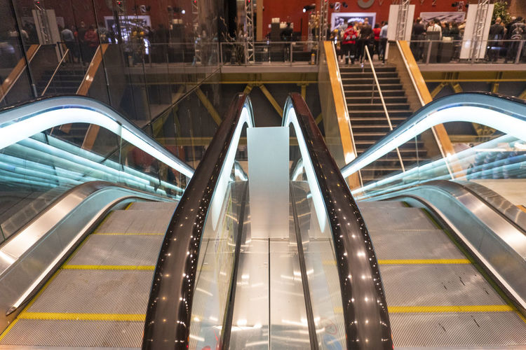 Architecture Built Structure Modern Transportation Escalator Illuminated Connection Railing Staircase Indoors  No People City Steps And Staircases High Angle View Metal Motion Futuristic Technology Bridge Moving Walkway