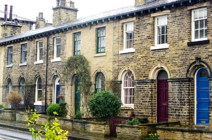 Architecture Building Exterior Built Structure Window Outdoors City No People Ivy Day Cultures Street Photography Mill Town Cobbled Streets Saltaire Bradford Rainy Day Homes Houses POV Residential Building House Scenics Bricks Street Door