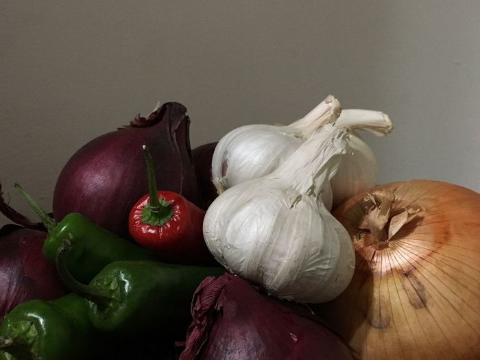 Close-up of vegetables against wall
