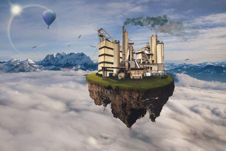 An flying island with a polluting old plant Plant Architecture Architecture, Building, Changes, Clouds, Contamination, Dirt, Ecology, Factory, Fantasy, Flying Island, Fouling, Beauty In Nature Built Structure Cloud - Sky Cold Temperature Day Digital Composite Flying Mode Of Transportation Mountain Nature No People Outdoors Polluting Scenics - Nature Sky Snow Snowcapped Mountain Transportation Travel Water Winter