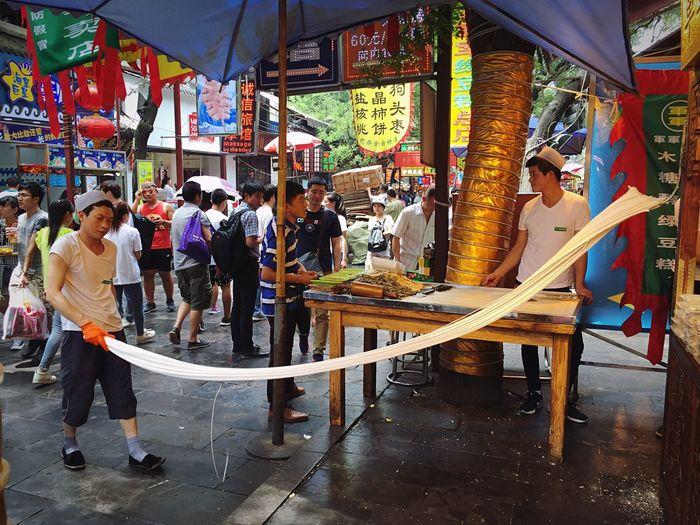 Shopping cart at market stall