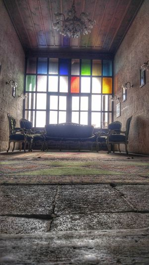Multi Colored Window Abandoned Ceiling Architecture Built Structure