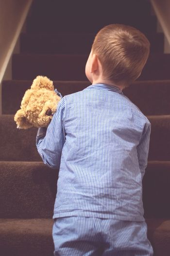 Rear View Of Boy Carrying Teddy Bear Upstairs
