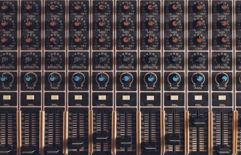 Vintage mixing console Retro Brown Audio Equipment Recording Studio Musical Equipment Technology Mixing Board Mixing Console Vintage Music Full Frame In A Row Backgrounds Order Repetition No People Indoors  Technology