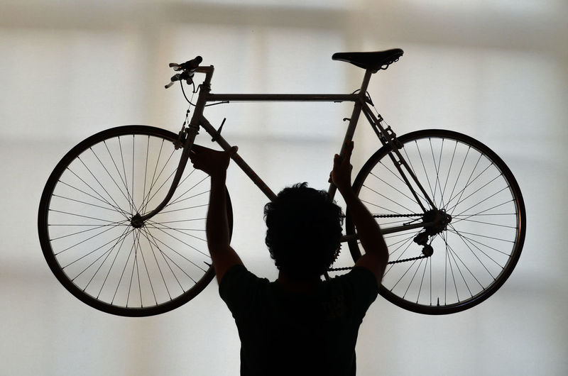 Rear View Of Man Holding Bicycle Against Sky