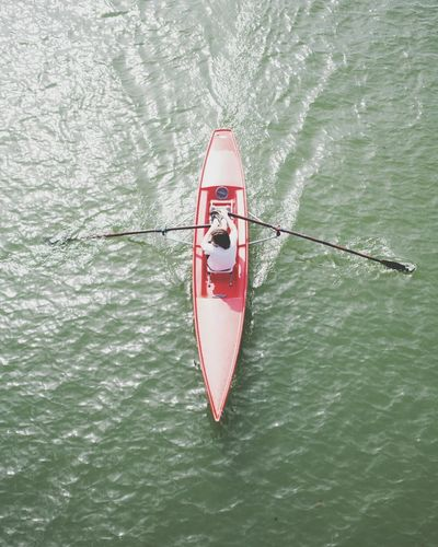 rameur Canoe Canoe Kayak Sport Lookdown Water Nautical Vessel Oar Sailing High Angle View Red Directly Above