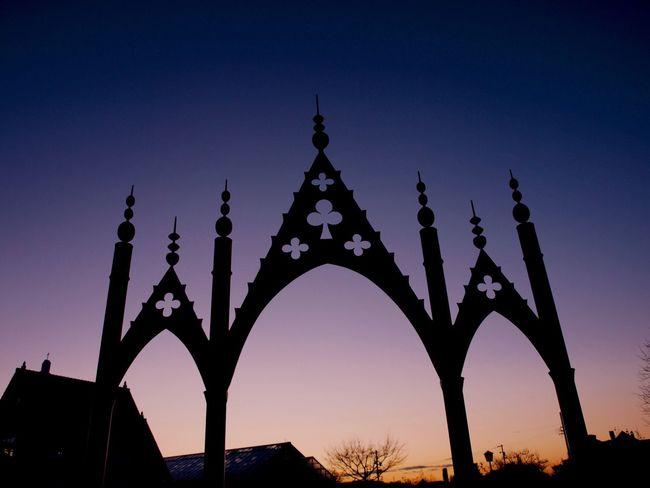 EyeEmNewHere The gate of wonder Silhouette Sunset Twilight Gate Article Sky Gradation