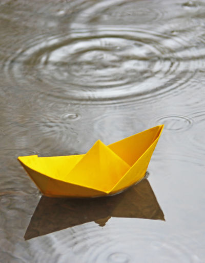 Close-up of yellow paper floating on water